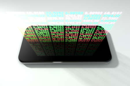 projecting: A generic smartphone projecting a hologram of a digital stock market indicator board with green and red numbers
