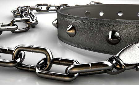 bondage: A black leather dog collar with metal spiked studs attached to a metal chain isolated on an isolated white studio background Stock Photo