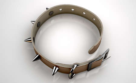 restraint: A brown leather dog collar with metal spiked studs isolated on an isolated white studio background Stock Photo