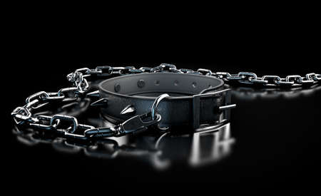 A black leather dog collar with metal spiked studs attached to a metal chain isolated on a dark studio background
