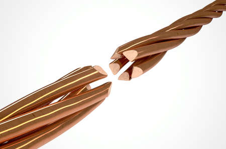 severed: Two cables made up of twisted strands of copper wire that are severed and disconnected on an isolated white studio background