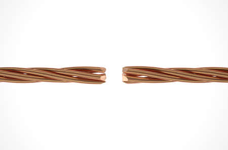 strands: Two cables made up of twisted strands of copper wire that are severed and disconnected on an isolated white studio background