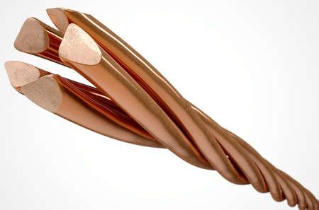 cobre: Un cable compuesto por filamentos trenzados de hilo de cobre en un aislado fondo blanco del estudio