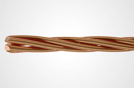 twirled: A cable made up of twisted strands of copper wire on an isolated white studio background Stock Photo