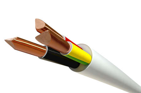 twirled: A regular three core insulated electrical cable with the copper wire cut and exposed on an isolated white studio background