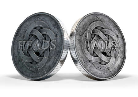 A concept image showing both sides of an antique coin displaying a heads and a tails side on an isolated white studio background