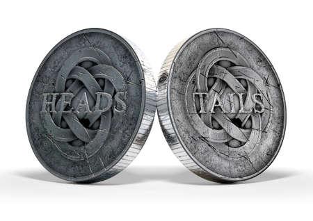 Een concept beeld dat beide zijden van een antieke munt het weergeven van een kop en een staart kant op een geïsoleerde witte achtergrond studio Stockfoto