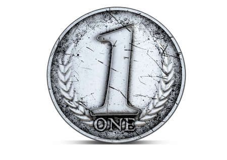 coin silver: A closeup of an antique silver coin with a number one and a wreath on an isolated white studio background