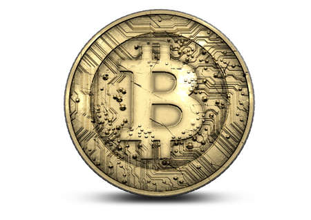 cryptography: A concept showing a physical golden bitcoin cryptography digital currency coin on an isolated white background Stock Photo