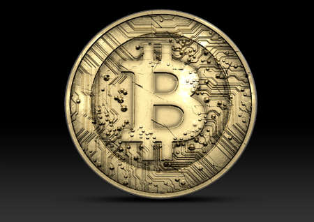 cryptography: A concept showing a physical golden bitcoin cryptography digital currency coin on an isolated dark background Stock Photo