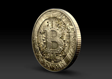 A concept showing a physical golden bitcoin cryptography digital currency coin on an isolated dark background Фото со стока