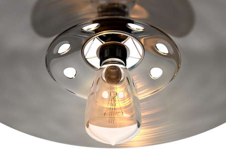 lamp shade: A retro light fitting with a lamp shade and a bulb on an isolated white studio background