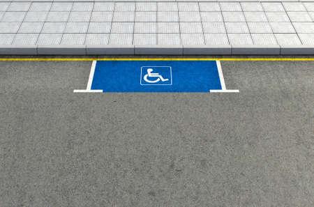 paraplegico: Una sección de una carretera asfaltada con una zona de aparcamiento parapléjico demarcada vacía Foto de archivo