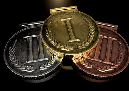 gold silver: A closeup set of gold, silver and bronze medals on a dark background Stock Photo