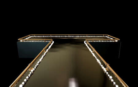 strip club: A regular empty stripper stage with a bronze railing and a strip of lights on a dark background