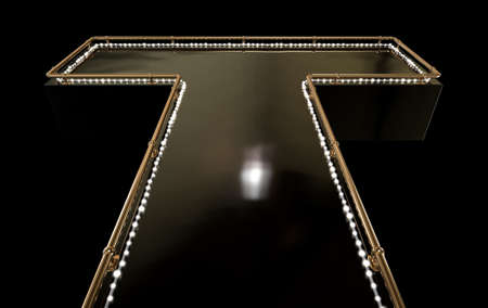 adult entertainment: A regular empty stripper stage with a bronze railing and a strip of lights on a dark background