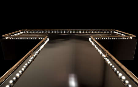 Eine regelmäßige leeren Stripper Bühne mit einem Bronzegeländer und ein Streifen von Licht auf einem dunklen Hintergrund Standard-Bild - 52542930