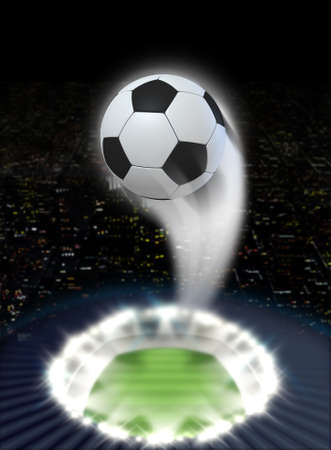 swish: A soccer ball swooshing into the atmosphere from a stadium with a green grass pitch under spotlights on a night city scape background