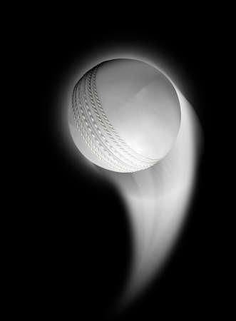 atmosfera: Una pelota de cricket blanco swooshing a la atm�sfera desde una distancia sobre un fondo negro aislado