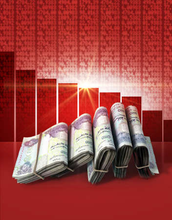 shareholding: Wads of folded stacks of dirham banknotes on a red digital stock market indicator board background with a decreasing red bar graph