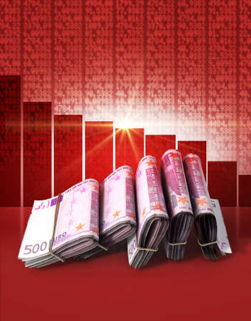 shareholding: Wads of folded stacks of euro banknotes on a red digital stock market indicator board background with a decreasing red bar graph