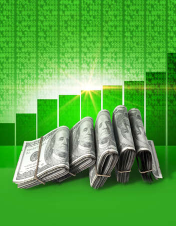 shareholding: Wads of folded stacks of US dollar banknotes on a green digital stock market indicator board background with an increasing green bar graph Stock Photo