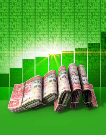 shareholding: Wads of folded stacks of hong kong dollar banknotes on a green digital stock market indicator board background with an increasing green bar graph