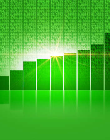 shareholding: A green digital stock market indicator board background with a rising green bar graph