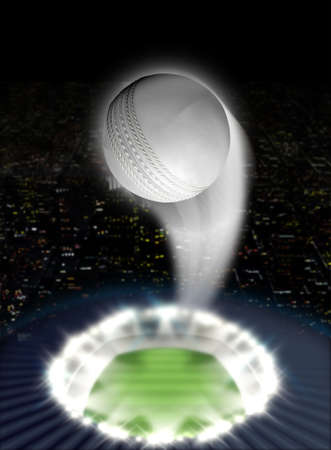 cricket game: A white cricket ball swooshing into the atmosphere from a stadium with a green grass pitch under spotlights on a night city scape background Stock Photo