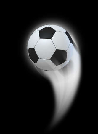 swish: A soccer ball swooshing into the atmosphere from a distance on an isolated black background