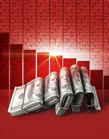 Wads of folded stacks of US dollar banknotes on a red digital stock market indicator board background with a decreasing red bar graph Stock Photo