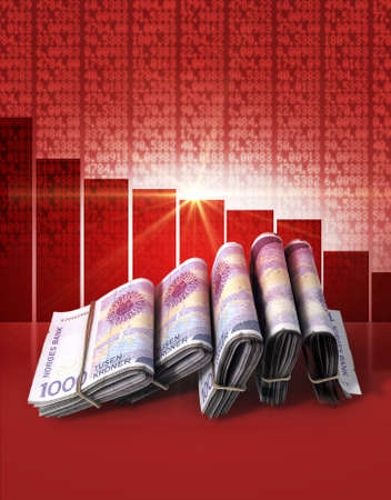 wads: Wads of folded stacks of norwegian kroner banknotes on a red digital stock market indicator board background with a decreasing red bar graph