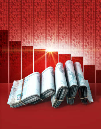 shareholding: Wads of folded stacks of brazilian real banknotes on a red digital stock market indicator board background with a decreasing red bar graph
