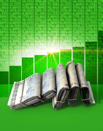 shareholding: Wads of folded stacks of swedish crown banknotes on a green digital stock market indicator board background with an increasing green bar graph