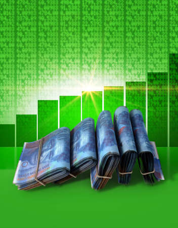 shareholding: Wads of folded stacks of swiss franc banknotes on a green digital stock market indicator board background with an increasing green bar graph Stock Photo