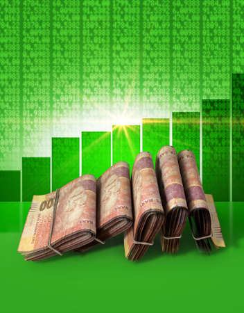 shareholding: Wads of folded stacks of south african rand banknotes on a green digital stock market indicator board background with an increasing green bar graph