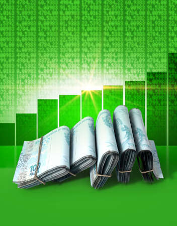 Wads of folded stacks of brazilian real banknotes on a green digital stock market indicator board background with an increasing green bar graph
