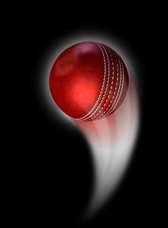 swish: A red cricket ball swooshing into the atmosphere from a distance on an isolated black background