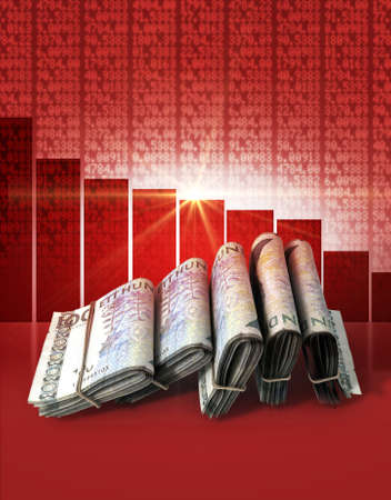 shareholding: Wads of folded stacks of swedish crown banknotes on a red digital stock market indicator board background with a decreasing red bar graph