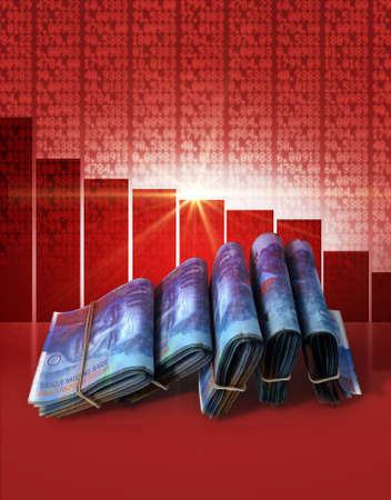 Wads of folded stacks of swiss franc banknotes on a red digital stock market indicator board background with a decreasing red bar graph Reklamní fotografie