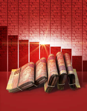 shareholding: Wads of folded stacks of south african rand banknotes on a red digital stock market indicator board background with a decreasing red bar graph Stock Photo