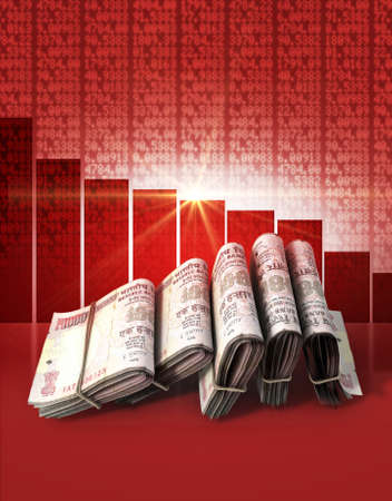 Wads of folded stacks of indian rupee banknotes on a red digital stock market indicator board background with a decreasing red bar graph