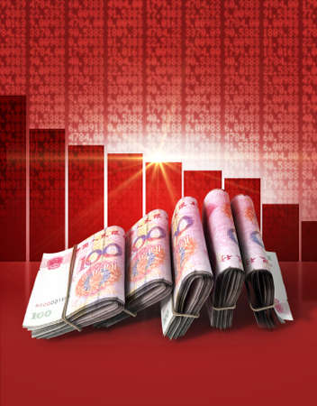 shareholding: Wads of folded stacks of Chinese Yuan banknotes on a red digital stock market indicator board background with a decreasing red bar graph Stock Photo