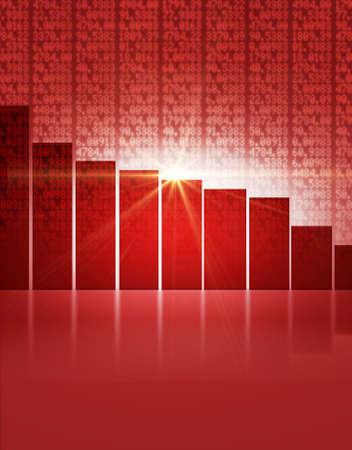 A red digital stock market indicator board background with a decreasing red bar graph Stock Photo