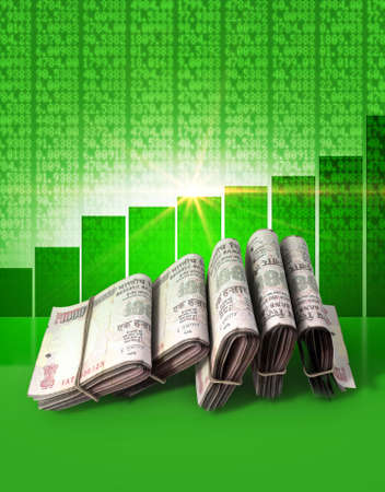 Wads of folded stacks of indian rupee banknotes on a green digital stock market indicator board background with an increasing green bar graph