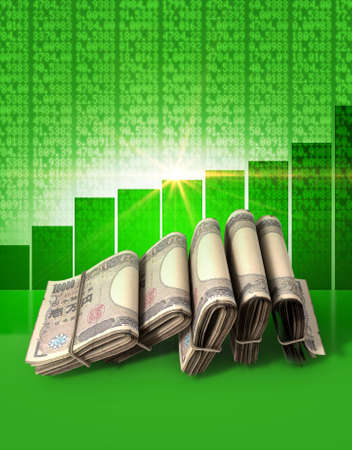 shareholding: Wads of folded stacks of japanese yen banknotes on a green digital stock market indicator board background with an increasing green bar graph