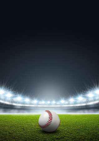 A generic stadium with an unmarked green grass pitch at night under illuminated floodlights and a baseball ball