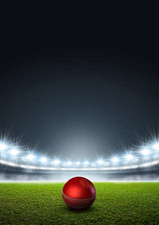 unmarked: A generic stadium with an unmarked green grass pitch at night under illuminated floodlights and a red cricket ball Stock Photo