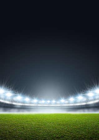 Un stade générique avec un terrain d'herbe verte non balisé la nuit sous des projecteurs illuminés Banque d'images - 55276834