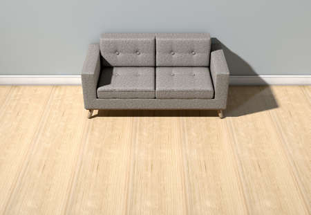 grey house: An empty  room in a house with grey walls and a reflective wooden floor with a modern couch